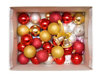 Box with new year tree decorations Royalty Free Stock Photos