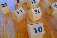 Box number made from wood Stock Images