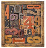 Box of numbers - wood type abstract Royalty Free Stock Images