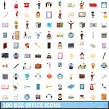 100 box office icons set, cartoon style Stock Images