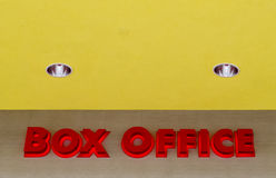 Box office. A large box office sign alerting movie goers were to buy tickets Stock Image