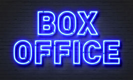 Box office neon sign on brick wall background. Royalty Free Stock Photo