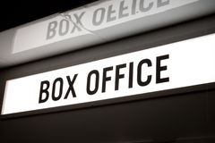 Box office sign. Backlit box office sign with reflection above Royalty Free Stock Photo