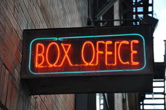 Box office sign. Box office neon sign posted along the building wall Stock Image