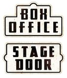 Box Office Stage Door Sign. Stage Door Box Office Sign Enamel Old theater movies movie house awards academy film performance play ticket Stock Images