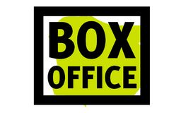 Box office sticker. Authentic design graphic stamp. Original series Stock Images