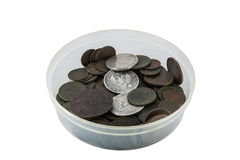 Box with old coins Stock Image