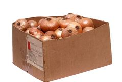 Box with onion. It is isolated on white background Stock Images