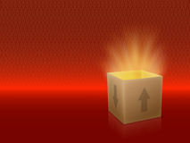 Box open. White Box with Lid Revealing Something Very Bright on a red Background stock illustration