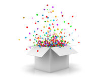 Box. Open Gift Box and Confetti. Christmas Background.  Illustration 3d rendering Royalty Free Stock Image