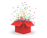 Box. Open Gift red Box and Confetti. Christmas Background.  Illustration 3d rendering Royalty Free Stock Photo
