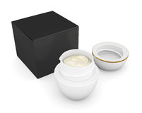 Box with an open jar of cream. 3d rendering. Royalty Free Stock Photo