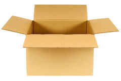 Box, open plain brown blank cardboard box isolated on white background Royalty Free Stock Photography