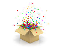 Box open. Open Red Gift Box and Confetti. Christmas Background.  Illustration 3d rendering Stock Photo