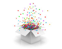 Box open. Open white Gift Box and Confetti. Christmas Background.  Illustration 3d rendering Stock Image