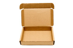Box With Opened Lid XXXL. Close shot of a cardboard corrugated box with the lid open showing lots of copy space. Isolated on a white background. Plenty of room Stock Photography