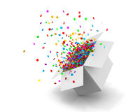 Box. Opening Gift Box and Confetti. Illustration 3d rendering Stock Images