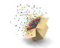Box. Opening Gift Box and Confetti. Illustration 3d rendering Royalty Free Stock Photos