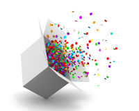 Box. Opening Gift Box and Confetti. Illustration 3d rendering Stock Photo