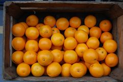 Box with Oranges. A collection of oranges in  a box Royalty Free Stock Photos