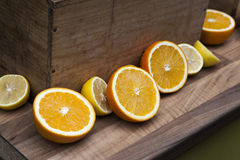Box of oranges harvested fields Stock Images