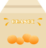 Box of oranges. Box with oranges printed in front page stock illustration