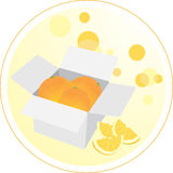 Box with oranges. Sticker Royalty Free Stock Photos