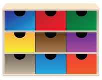 Box organizer. For small parts with colored drawers. Vector illustration Stock Photography