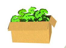 Box or Package of Green Dollar Signs ( on White) Stock Photography
