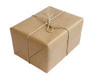 Box package wrap. Close up of carton box post package on white background with clipping path stock photo