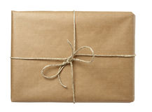 Box package wrap. Close up of carton box post package on white background with clipping path stock images