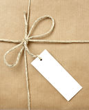 Box package wrap. Close up of carton box post package on white background with clipping path royalty free stock images