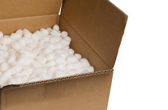 Box with packing 'peanuts' Stock Photo