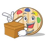 With box paint palette character cartoon. Vector illustration stock illustration