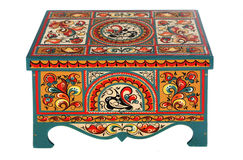 The box is painted in Russian folk style Stock Photography