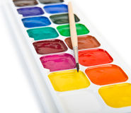 Box of paints and brush Royalty Free Stock Photo