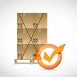 Box pallet and check mark cycle Stock Photos