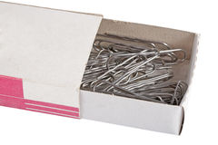Box paper clips for paper Royalty Free Stock Image