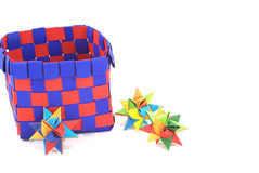 Box with paper stars Stock Images