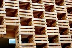 The box pattern. The skin of a modern building realized whit the fruit boxes. Magnifique Stock Images