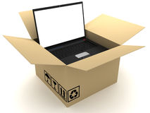 Box and PC. This is a 3D rendered picture Royalty Free Stock Image