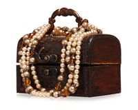Box with pearl Stock Image
