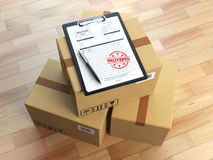 Box, pen, clipboard with receiving form and stamp delivered isol Royalty Free Stock Photography