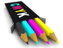 Box with pencils. CMYK. 3d Very beautiful three-dimensional illustration, figure Royalty Free Stock Images