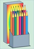 BOX WITH PENCILS PATTERN. Color vector image of colored pencils for painting in a box Royalty Free Stock Images