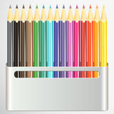 Box of pencils on white background. royalty free illustration