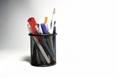 Box for pens and pencils. Isolated Stock Photography