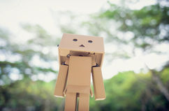 A box people DANBO. Looking forward to some thing Stock Images