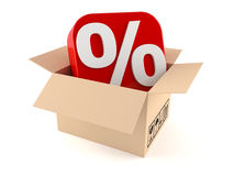 Box with percent symbol Stock Photo