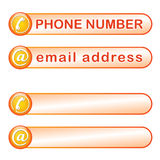 Box for phone and mail address Stock Photos
